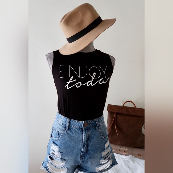 """Tops - JESSICA- """"Enjoy Today"""" Comfy Muscle Tee"""